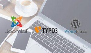 Wir arbeiten mit den Systemen WordPress, Joomla, TYPO3 und Drupal